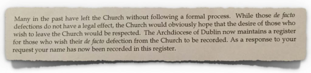 Extract from correspondence from the Archdiocese of Dublin to Katherine Finn BL